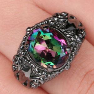 Jewelry - Mystic Rainbow Topaz 10KT Gold GF Black Ring 8